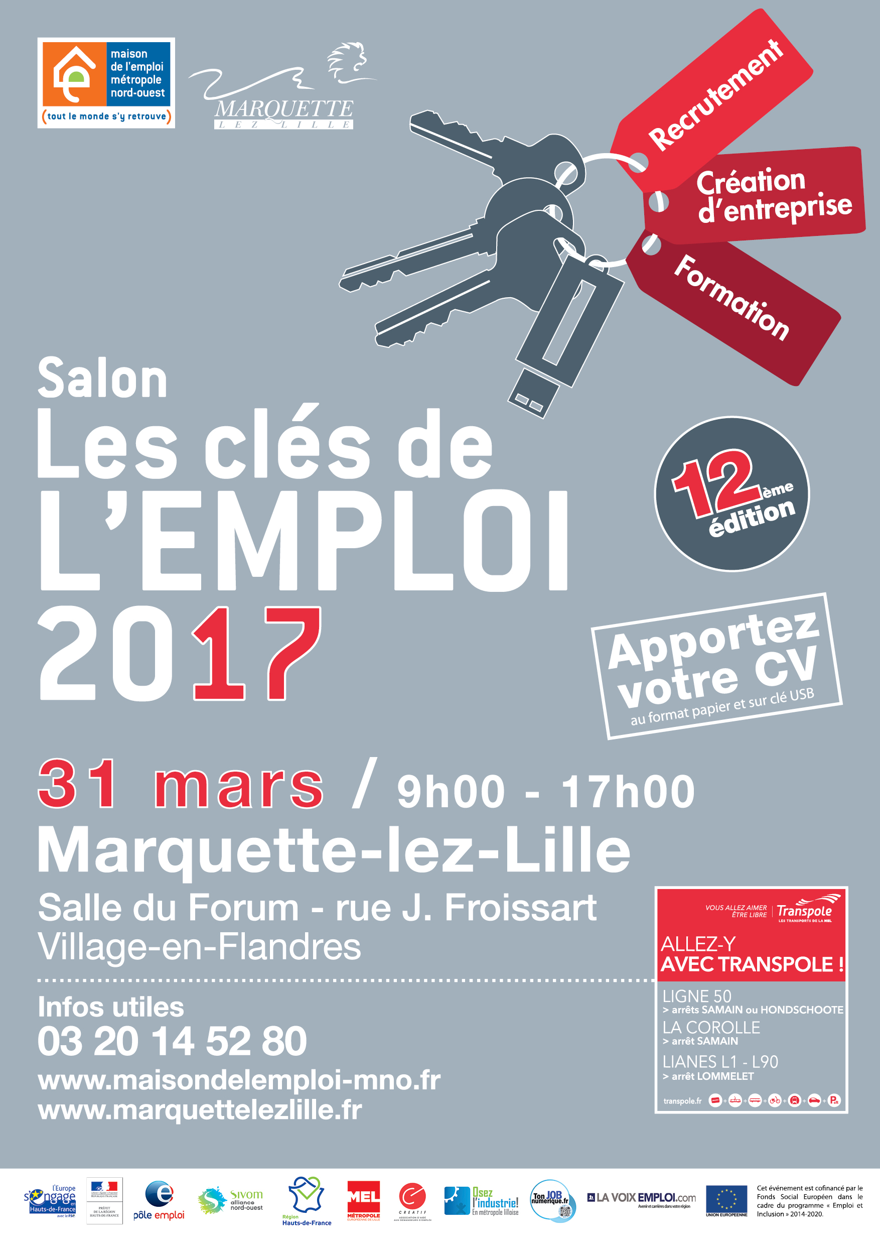 Salon les cl s de l 39 emploi 2017 mission emploi lys tourcoing for Salon recrutement 2017